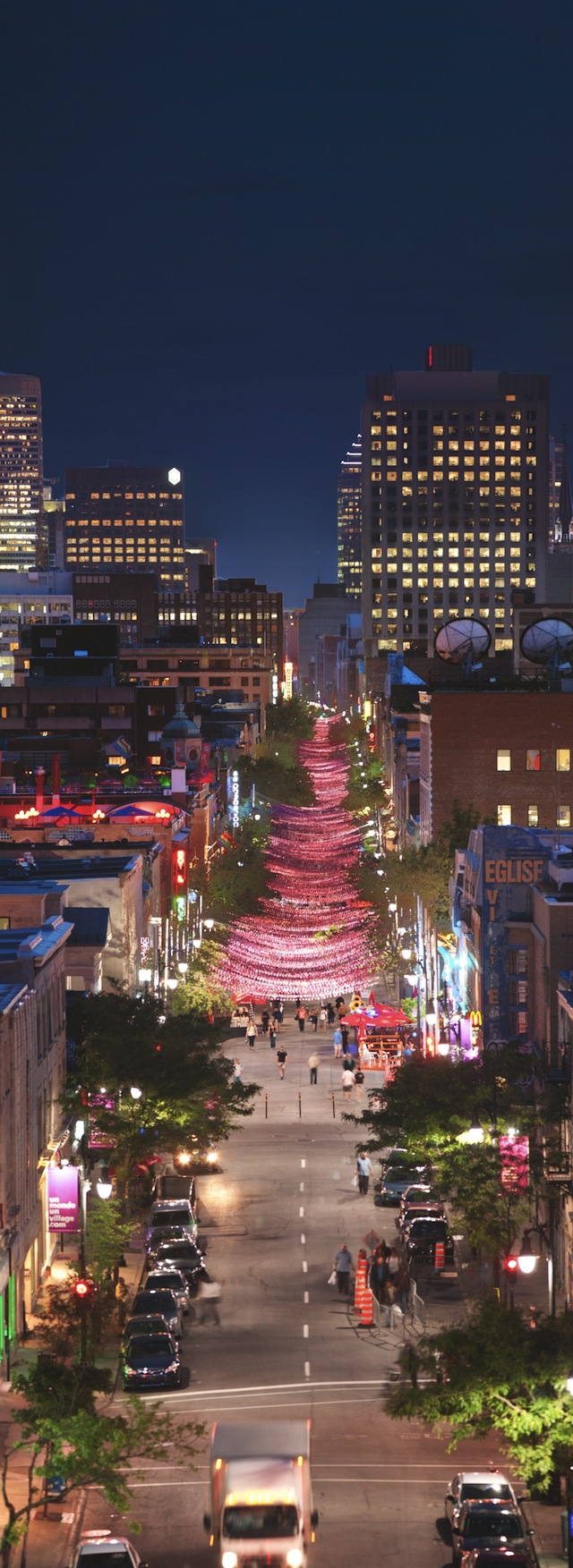 Suspended-Pink-Ball-Ribbon-Installment-Over-St.-Catherine-Street-In-Montreal-15