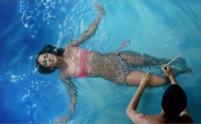 Realistic Swimmers in Gustavo Silva Nunez's Paintings